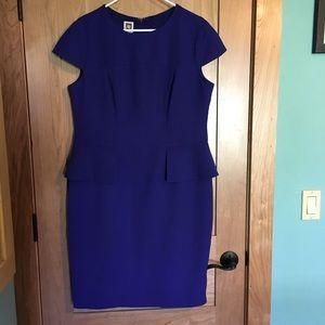 Anne Klein blue peplum dress 14